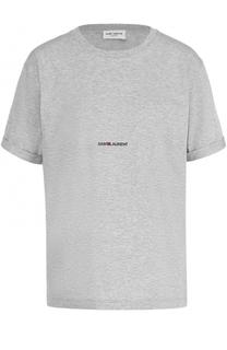 Хлопковая футболка прямого кроя с логотипом бренда Saint Laurent