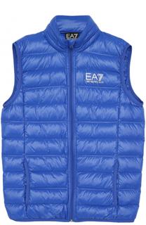 Пуховой стеганый жилет с логотипом бренда и сумкой для хранения Ea 7
