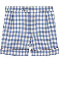 Шерстяные шорты в клетку с контрастной отделкой Gucci