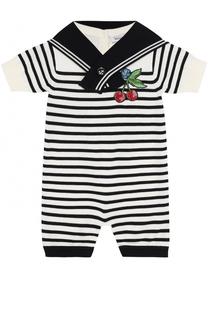 Хлопковый песочник в контрастную полоску с аппликацией Dolce & Gabbana