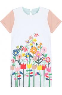 Хлопковое мини-платье прямого кроя с принтом Stella McCartney