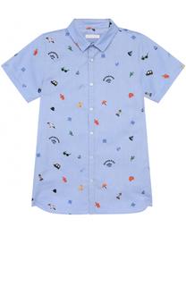 Хлопковая рубашка с вышивками Burberry