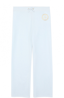 Спортивные брюки прямого кроя с металлизированной отделкой и стразами Juicy Couture