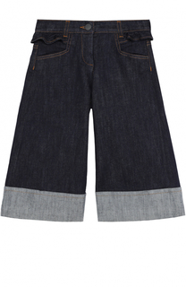 Укороченные джинсы свободного кроя с отворотами и оборкой Fendi Roma