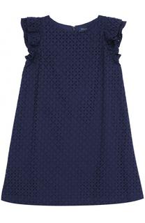 Хлопковое мини-платье А-силуэта с перфорацией и оборками Polo Ralph Lauren