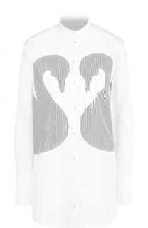 Удлиненная хлопковая блуза с нашивками в полоску Victoria by Victoria Beckham