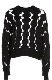 Пуловер фактурной вязки с круглым вырезом DKNY