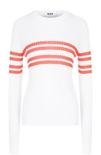 Пуловер фактурной вязки в полоску MSGM