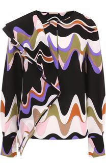 Шелковая блуза с принтом и оборками Emilio Pucci