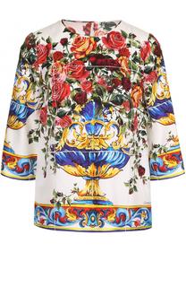 Шелковый топ с укороченным рукавом и принтом Dolce & Gabbana
