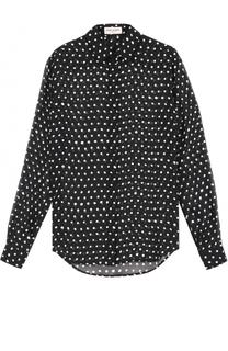 Шелковая блуза прямого кроя в горох Saint Laurent