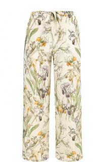 Укороченные шелковые брюки с принтом Alexander McQueen