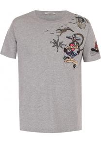 Хлопковая футболка с контрастной вышивкой Valentino