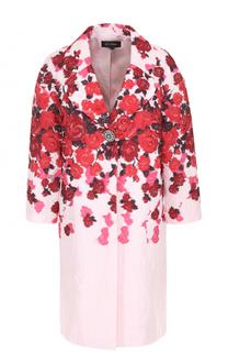Пальто прямого кроя с цветочным принтом St. John