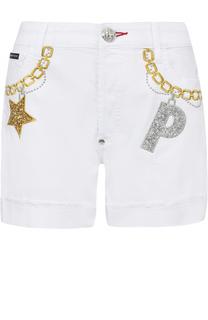 Джинсовые мини-шорты с вышивкой Philipp Plein