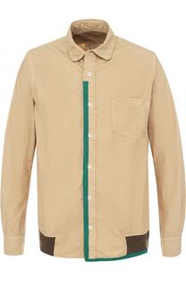 Хлопковая рубашка с контрастной отделкой Sacai
