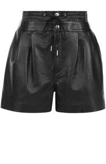 Кожаные мини-шорты с защипами Saint Laurent
