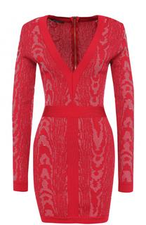Платье-футляр с V-образным вырезом Balmain