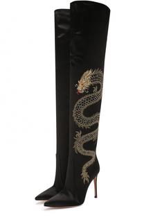 Атласные ботфорты Dragon с вышивкой Gianvito Rossi