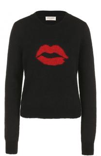 Пуловер с принтом и круглым вырезом Saint Laurent