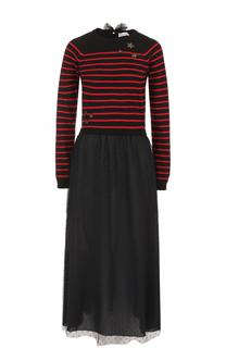 Платье-миди с кружевной юбкой и вязаным лифом REDVALENTINO