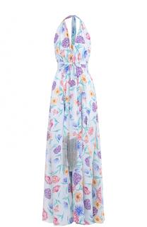 Шелковое платье-макси с открытой спиной Lazul