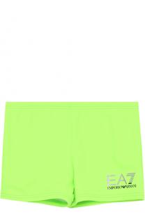 Однотонные плавки с логотипом бренда Ea 7