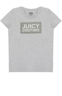 Хлопковая футболка с заклепками Juicy Couture