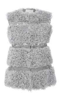 Жилет из меха ягненка с кружевными вставками Valentino