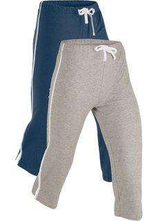 Спортивные брюки капри с эффектом стретч (2 шт.) (темно-синий/серый меланж) Bonprix