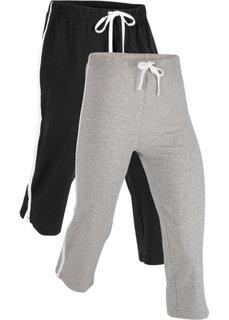 Спортивные брюки капри с эффектом стретч (2 шт.) (черный/серый меланж) Bonprix