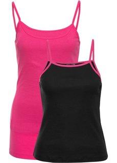 Топ короткого покроя (2 шт.) (черный, ярко-розовый/ярко-розовый) Bonprix