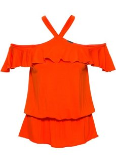 Топ с воланами (кроваво-оранжевый) Bonprix