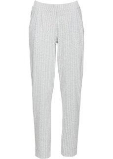 Трикотажные брюки (серый меланж/белый в полоску) Bonprix