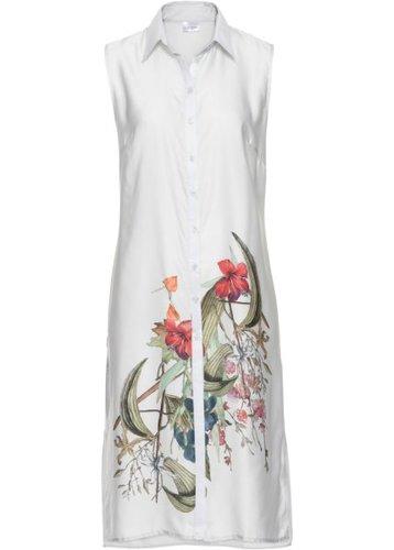 Удлиненная блузка (белый с рисунком)