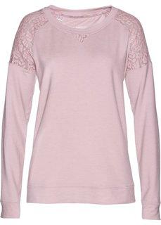 Свитшот с кружевом (розовый матовый) Bonprix
