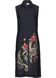Удлиненная блузка (черный с рисунком) Bonprix