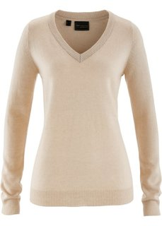 Пуловер с V-образным вырезом и содержанием кашемира (бежевый) Bonprix