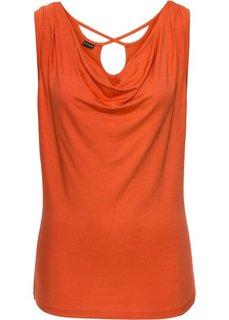 Топ с горловиной хомут и вырезом на спине (кроваво-оранжевый) Bonprix