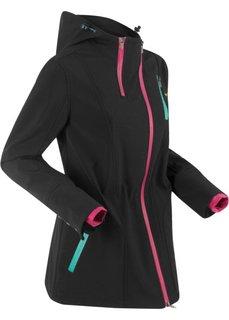 Куртка софтшелл стретч с капюшоном, на асимметричной молнии (черный) Bonprix