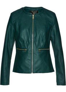 Короткая куртка с баской из искусственной кожи (зеленый) Bonprix