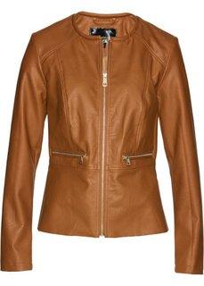Короткая куртка с баской из искусственной кожи (бронзовый) Bonprix