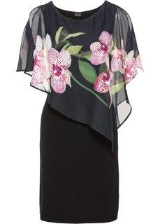 Платье с шифоновой накидкой (черный с рисунком с орхидеями) Bonprix