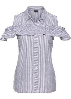 Блузка с воланами и вырезами на плечах (серый/белый в полоску) Bonprix