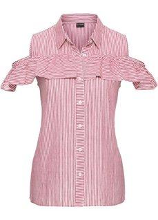 Блузка с воланами и вырезами на плечах (красный/белый в полоску) Bonprix