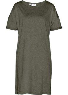 Трикотажное платье с коротким рукавом (темно-оливковый) Bonprix