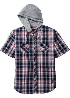 Рубашка Regular Fit с капюшоном (красный/темно-синий в клетку) Bonprix