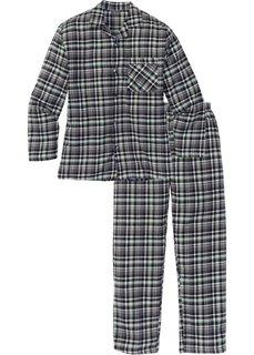 Фланелевая пижама свободного покроя. (серый в клетку) Bonprix
