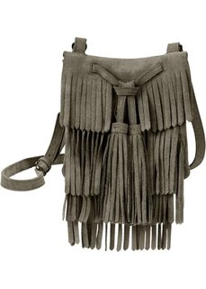 Замшевая сумка с бахромой (темно-оливковый) Bonprix
