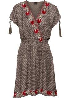 Платье с вышивками (хаки с рисунком) Bonprix